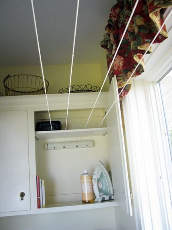 Tuck A Retractable Clothesline Into Your Laundry Room Cabinets To Maximize Your Line Drying Space.