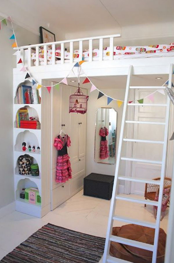 Kids Loft Bed with wardrobe under