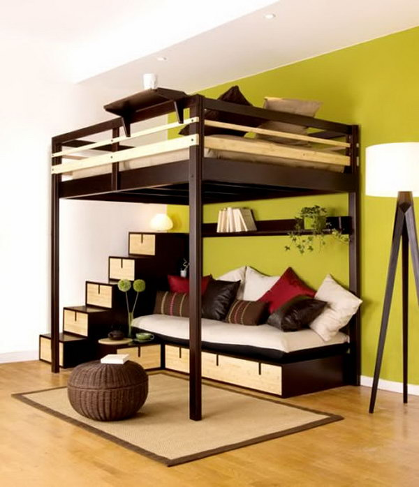 Queen-sized bunk bed with couch underneath