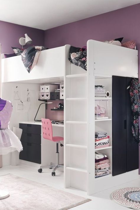 Loft Bed With Desk, Wardrobe And Open Shelf.