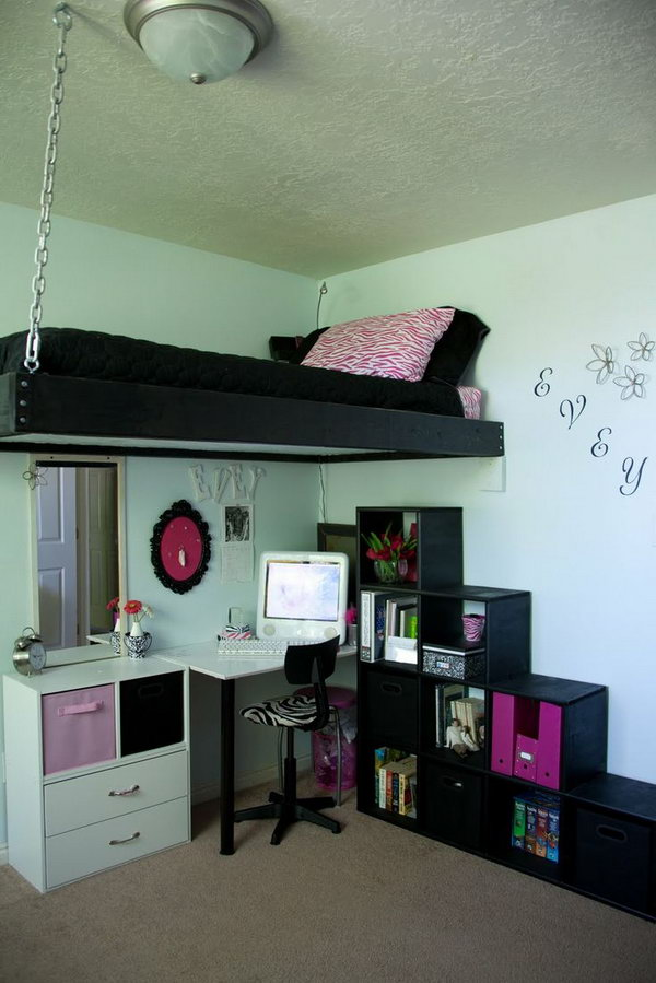 black homemade loft bed