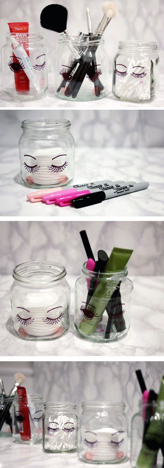 DIY Cute Sharpie Storage Jars & 40 Awesome Makeup Storage Designs and DIY Ideas For Girls 2017