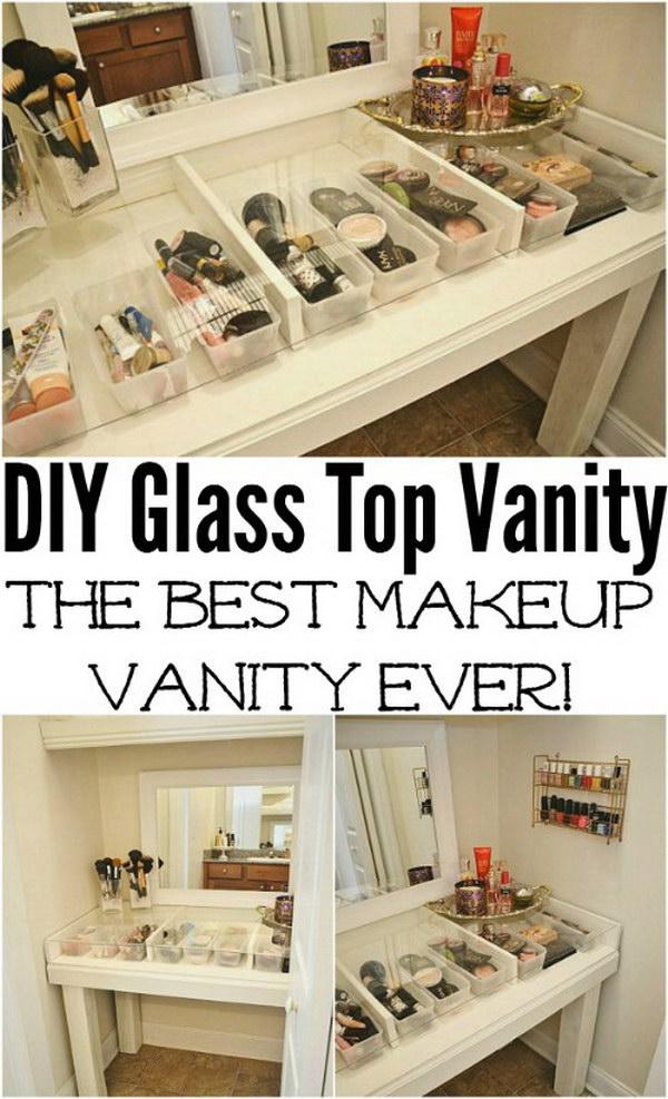 DIY Glass Top See-Through Vanity