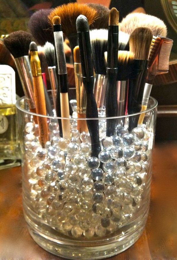 Glass Jar And Clear Iridescent Beads Brushes Organizer