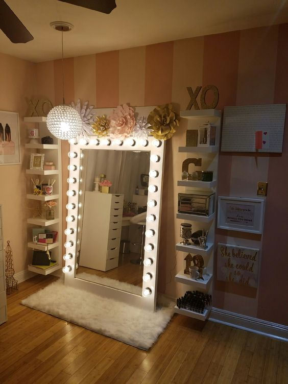 Makeup Storage With DIY style Hollywood Glam Light.
