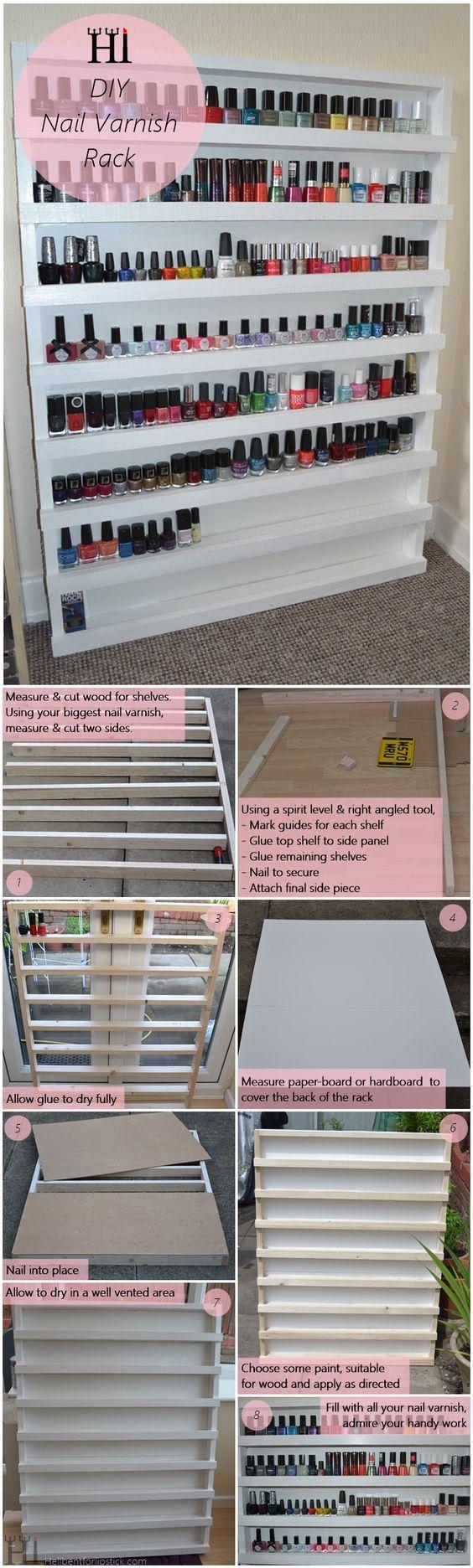 DIY Nail Varnish Rack Storage