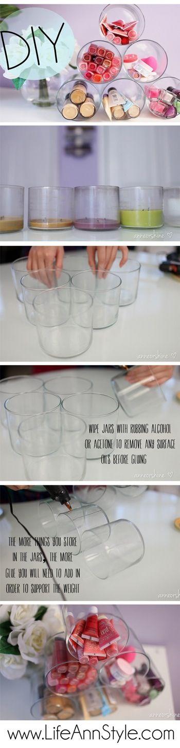 DIY Repurposed Candle Jar Makeup Organizer
