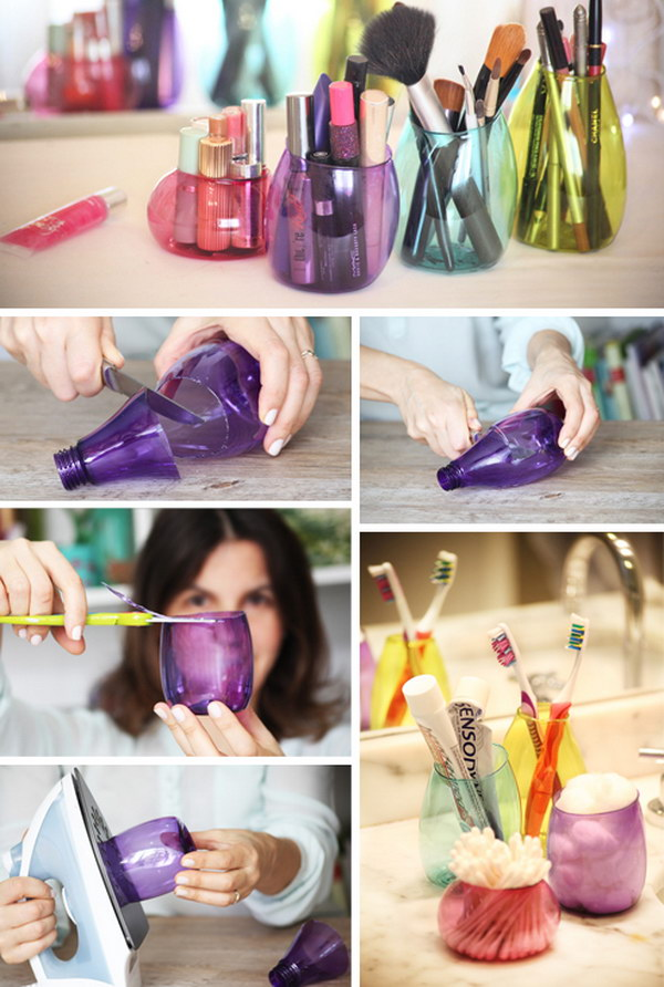 Recycled Plastic Bottle Makeup Organizer