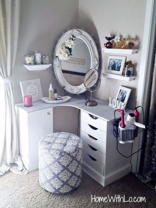 Makeup Vanity in the Corner of the Room.