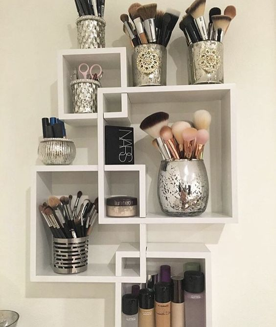 Wall Shelf For Makeup Storage.