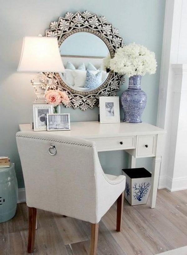 Elegant Pale Blue Makeup Vanity Area