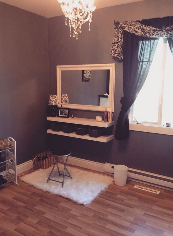DIY Dressing Table From Two Shelves