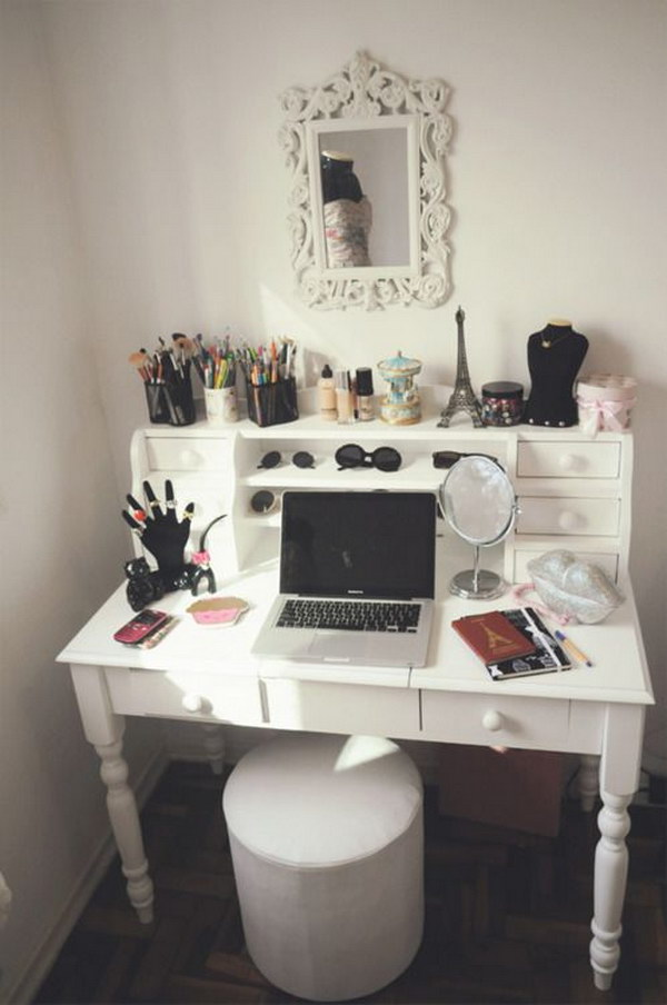 White Vanity With Repurposed Desk