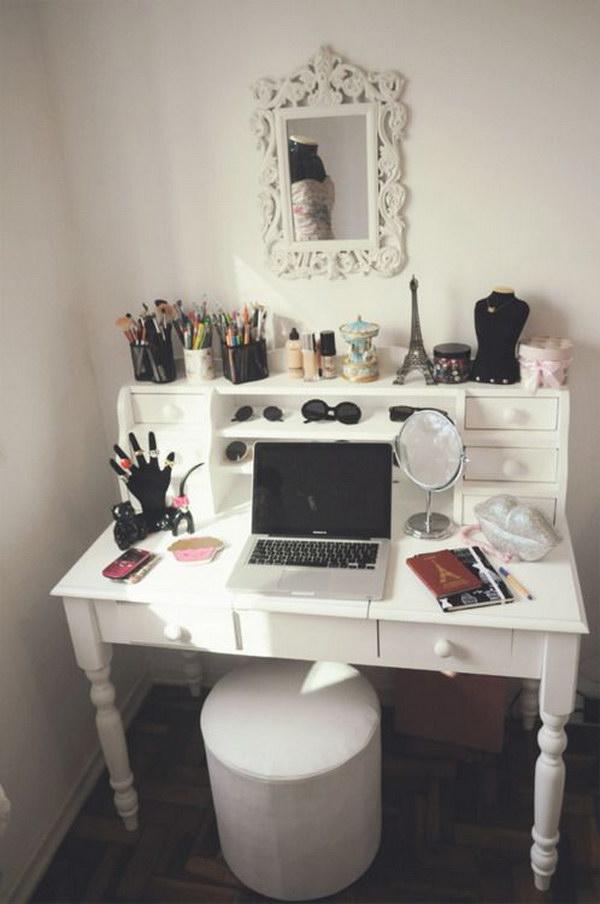 White Vanity With Repurposed Desk