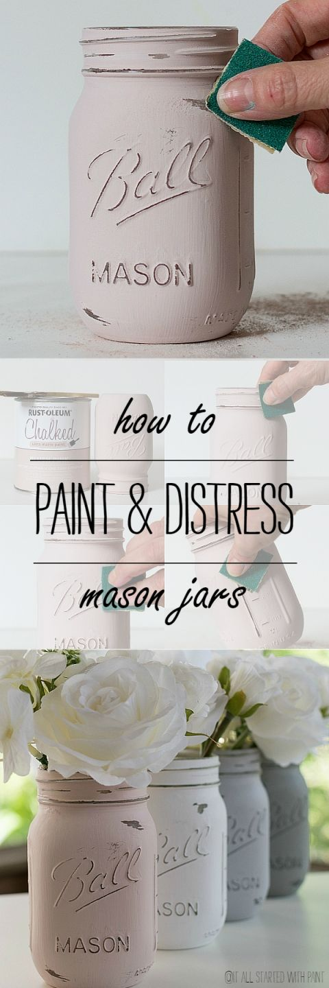 Old White Chalk Painted Mason Jars.