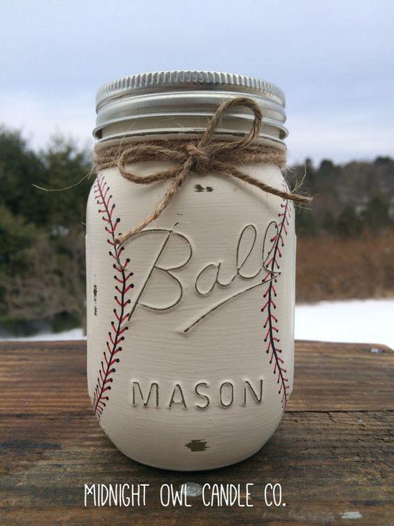Hand-Painted Baseball Mason Jar Bank.