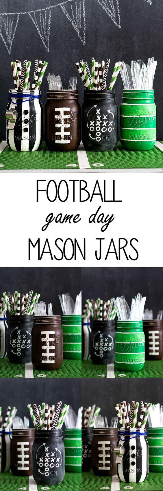 Football Party Mason Jars.
