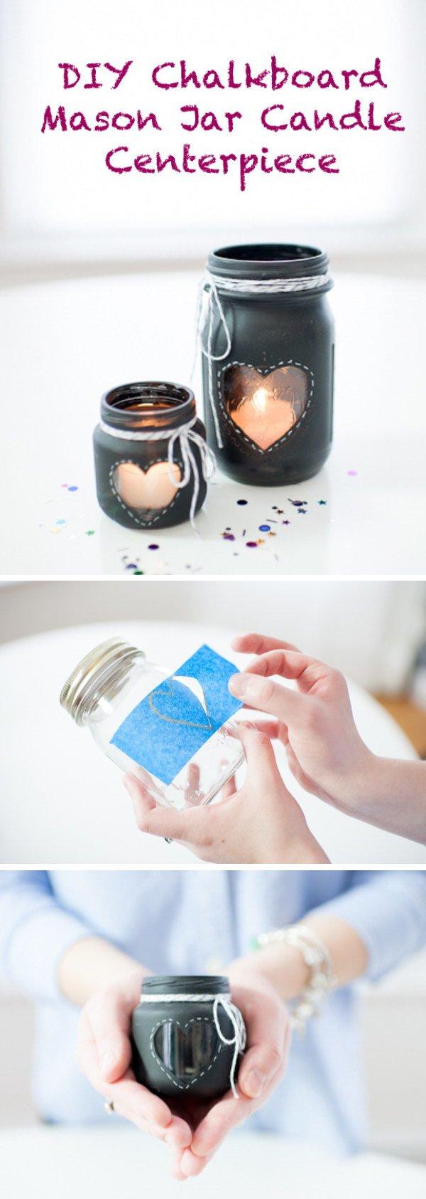 DIY Chalkboard Mason Jar Candle.