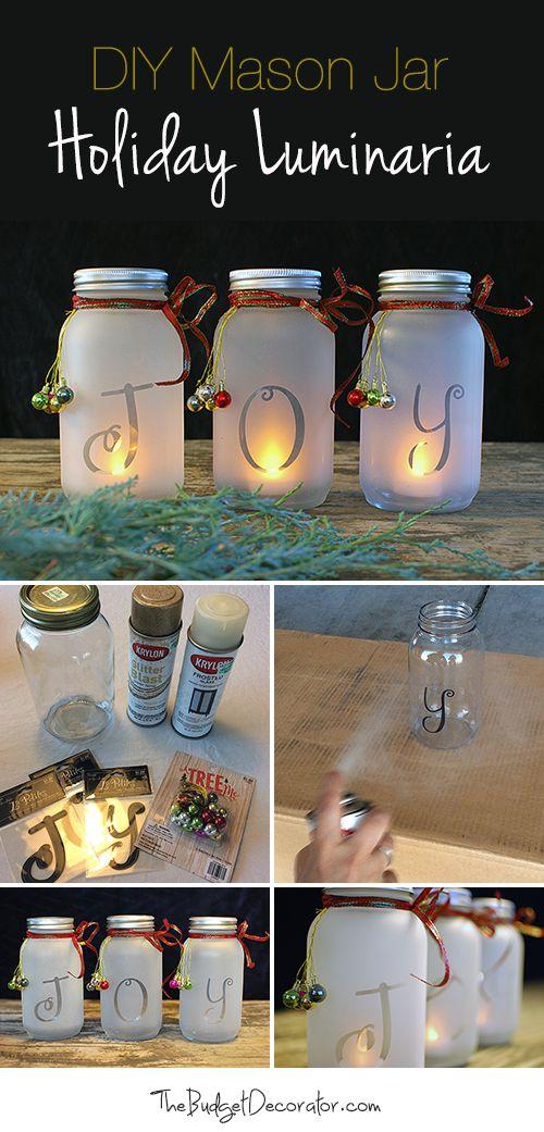 DIY Mason Jar Holiday Luminaria.