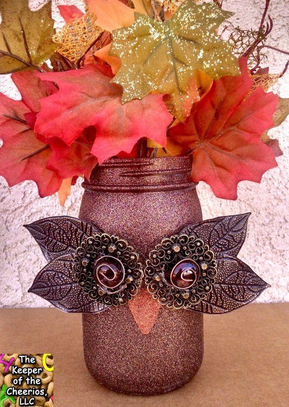 DIY Fall Owl Mason Jars.
