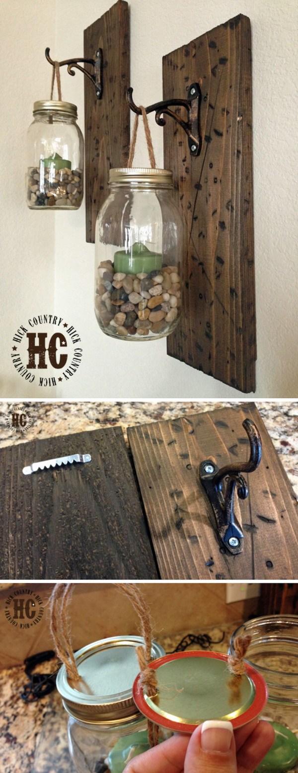 DIY Rustic Mason Jar Walllanterns.