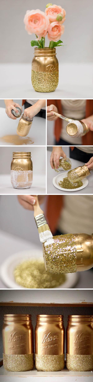 DIY Glitter Gold Mason Jar Vase.