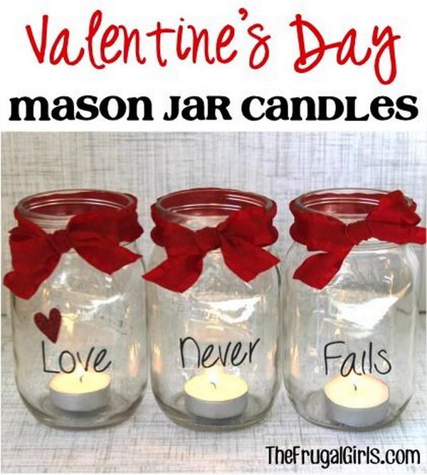 Valentine's Day Mason Jar Candles