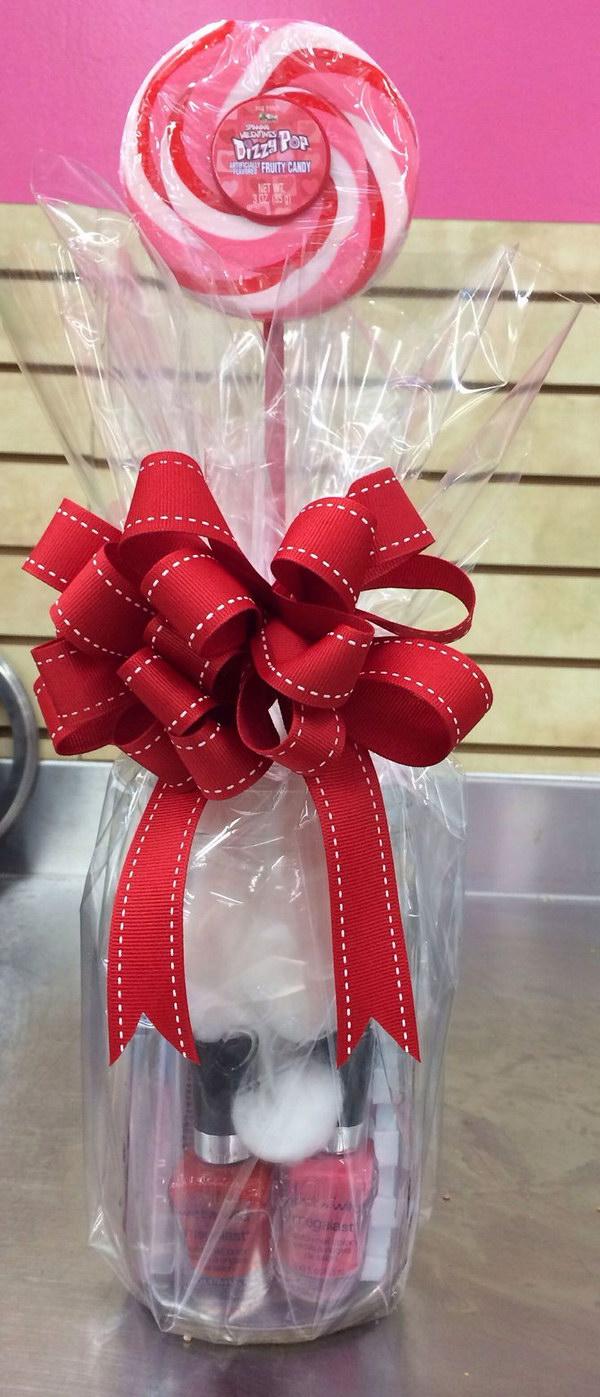 Valentine's Day Gift Set Lollipop and a Pedicure in a Cute Mason Jar