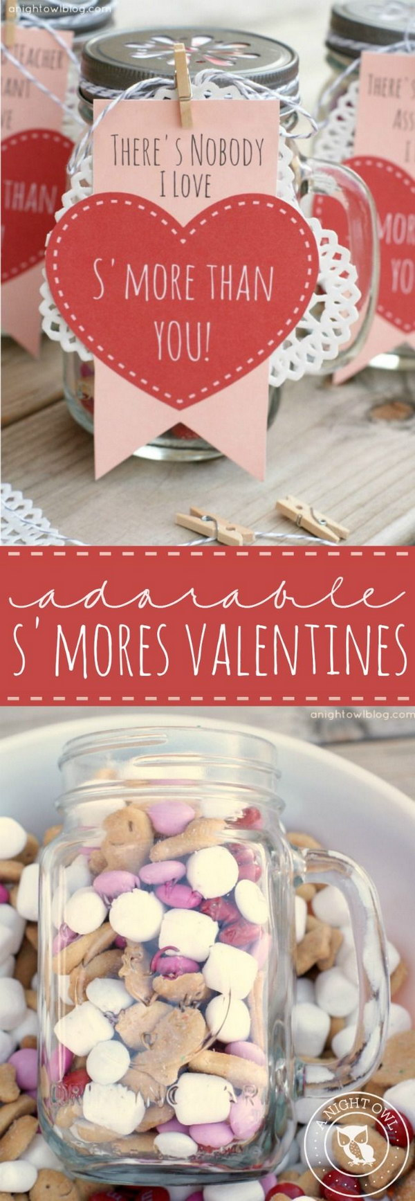 Mason Jars Filled with S'mores Snack Mix Includes FREE Printables
