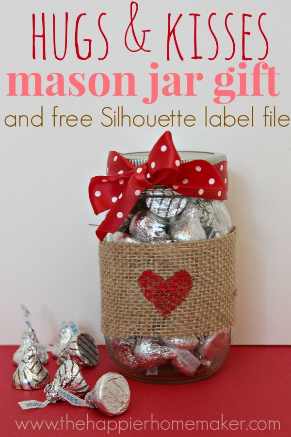 Hugs and Kisses in a Burlap Wrapped Mason Jar