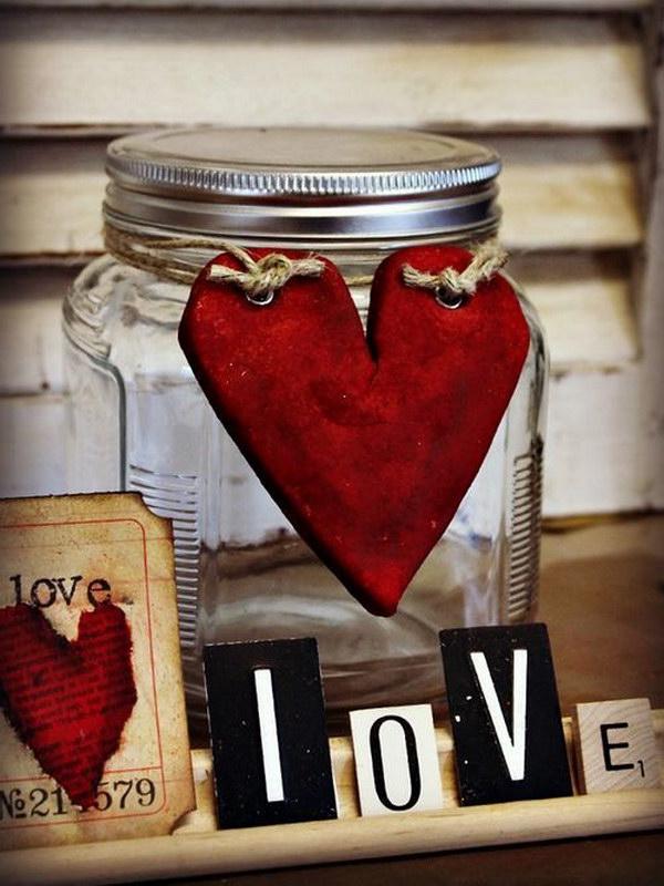 Salt Dough Heart Decorated Mason Jar