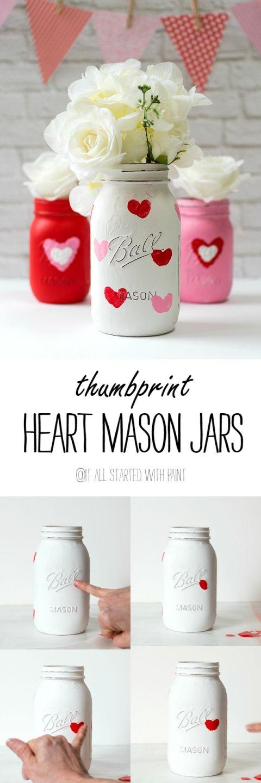 Painted Mason Jars with Thumbprint Hearts.