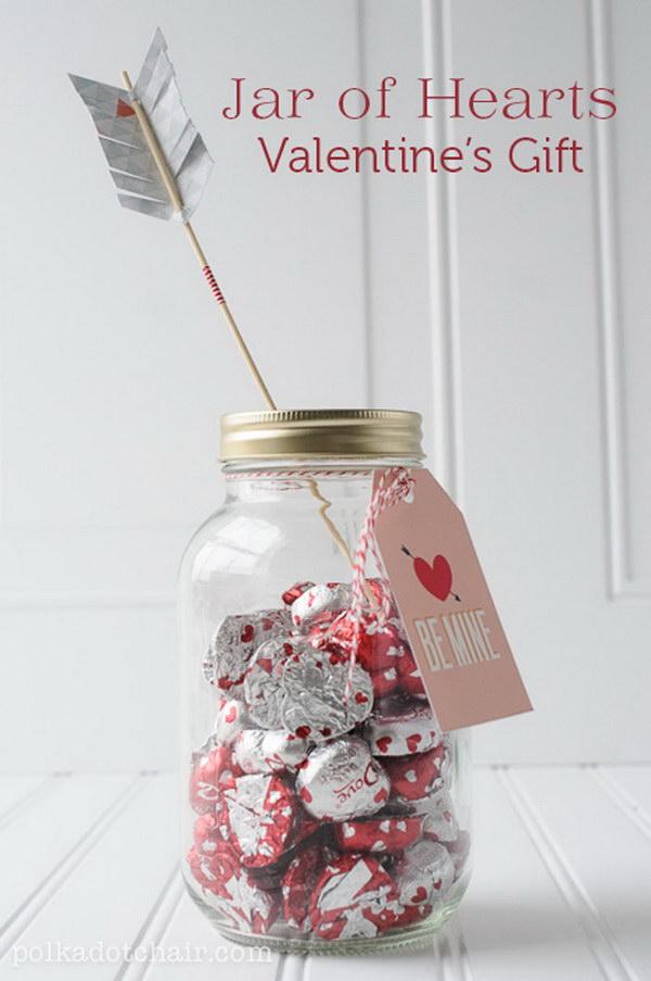 A Jar of Chocolate Hearts
