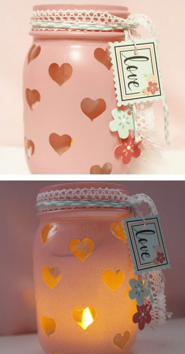 Easy DIY Valentine's Day Mason Jar Votive