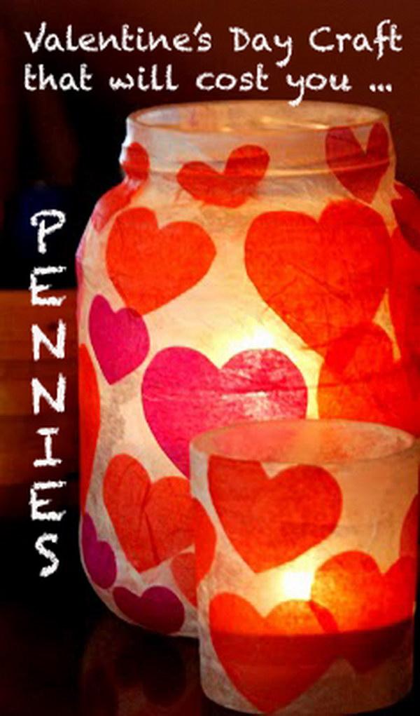 Valetine's Day Paper Mache Candle Jar