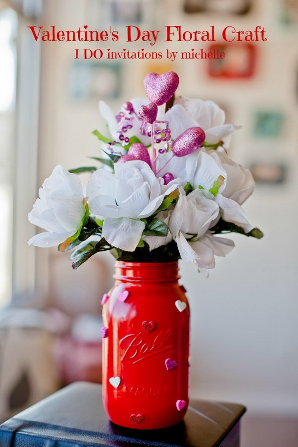 Big Mason Jar Vases with Glitter Heart Stickers