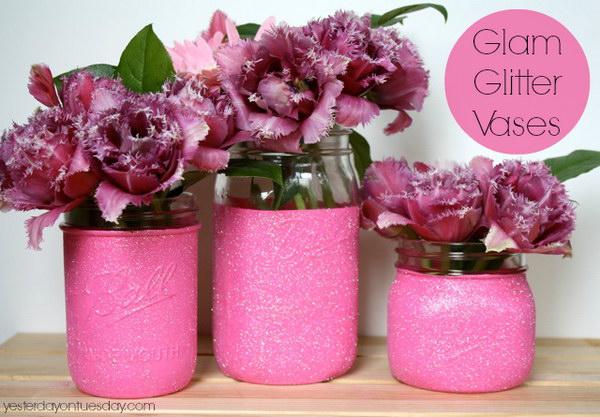 Pink Glitter Cover Mason Jar Vases