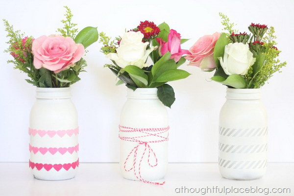 White Mason Jar Vases with Hearts Garlands, Twine and Silver Stripes Tapes Decor