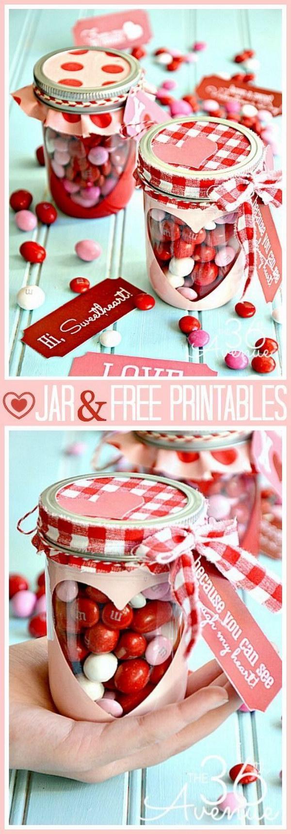 Valentine Heart Candy Jar with Free Valentine Printable