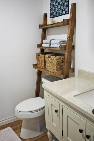 Bathroom Shelves Over Toilet. Bathroom Ladder Over The Toilet For Storage