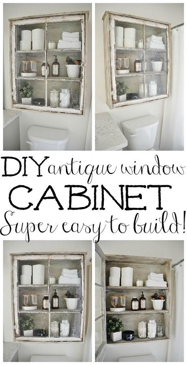 DIY Antique Window Cabinet.