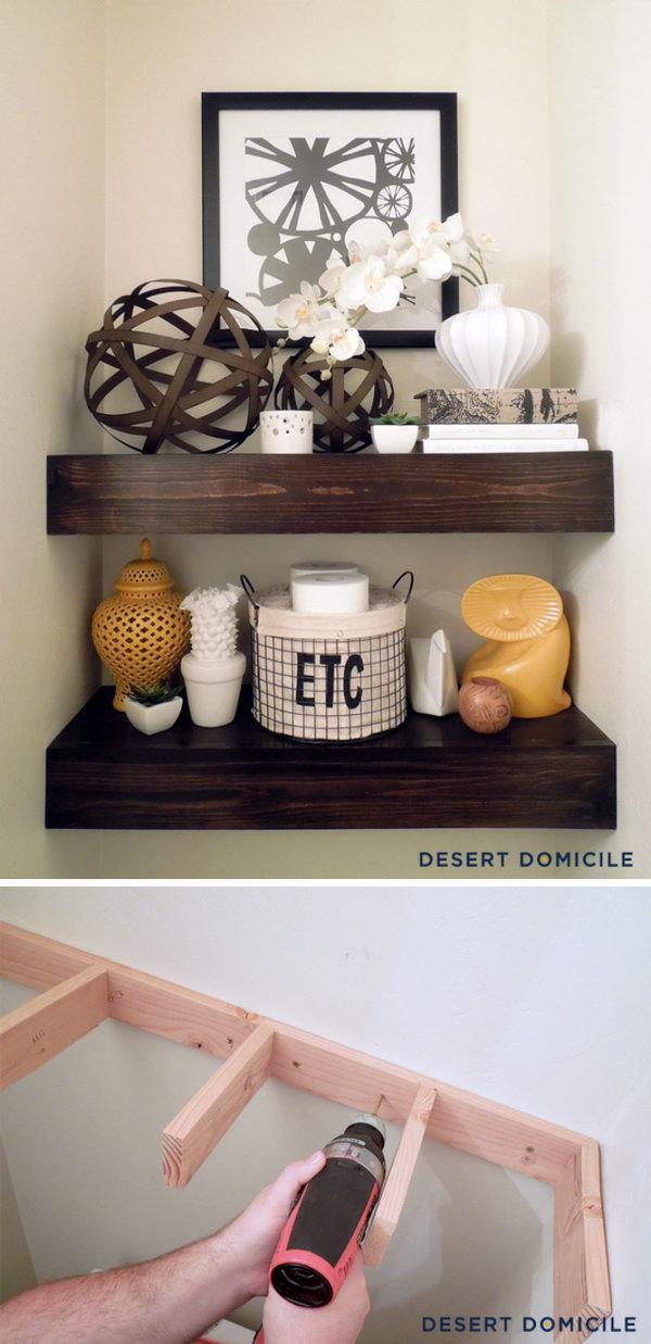 DIY $15 Wooden Floating Shelves Above The Toilet.