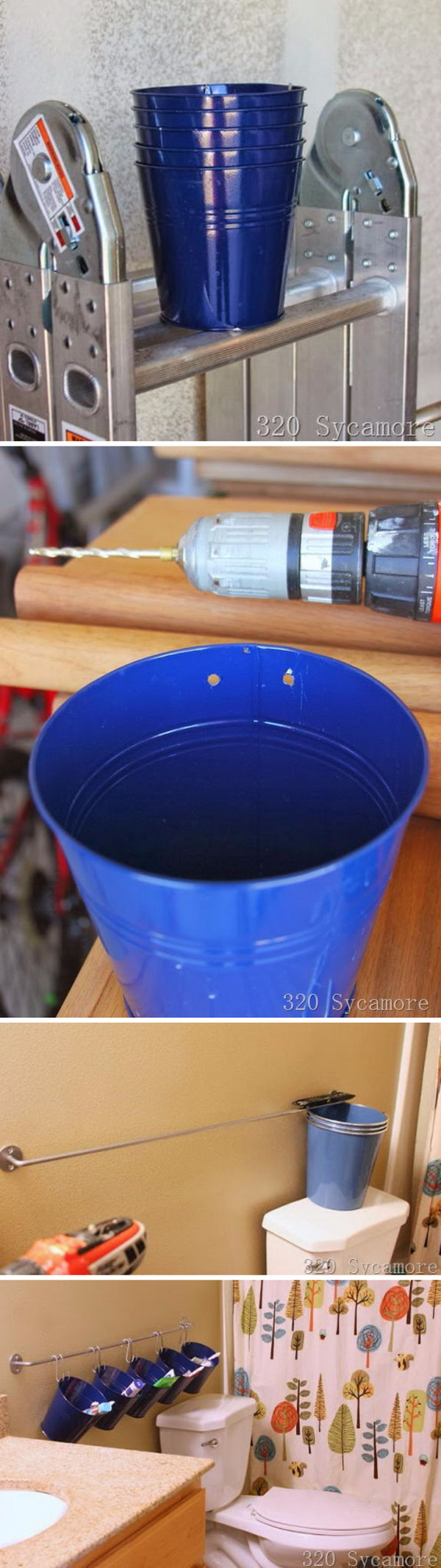 Toothbrush storage Using Ikea And Dollar Store Buckets.