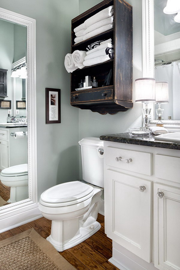 Over The Toilet Wall Dark Brown Cabinet for Extra Bathroom Space.