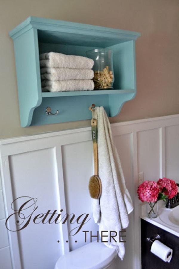 Bath Wall Storage Shelf With Hooks.