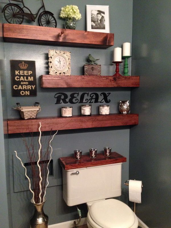 Rustic Floating Shelves Over The Toilet