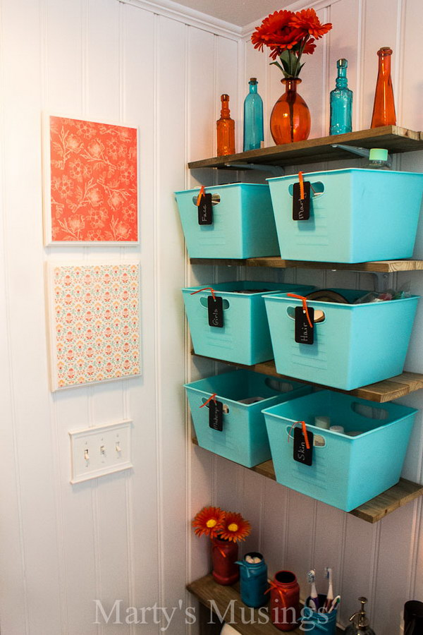 Dollar Store Blue Baskets With Chalkboard Tags.