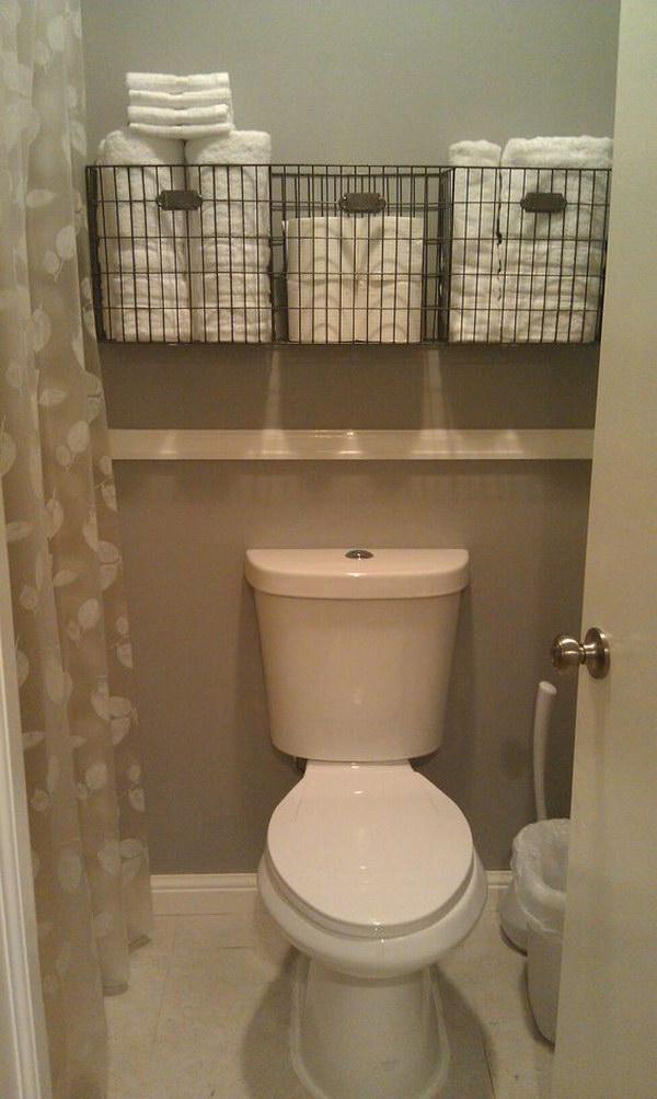 Bathroom Towel Storage Over The Toilet.