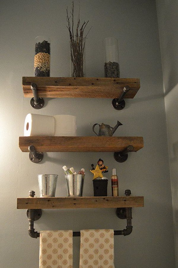 Reclaimed Wood u0026 Pipe Shelves with Towel Bar & 40+ Practical Over The Toilet Storage Ideas 2017