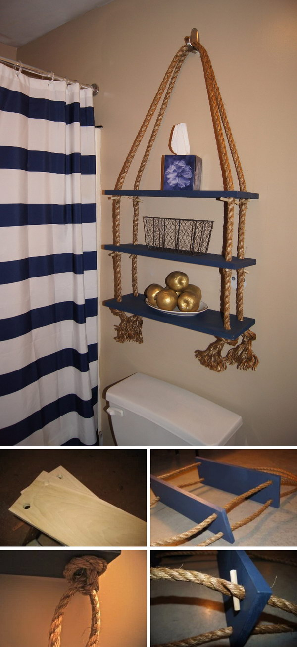 DIY Over The Toilet Rope Shelf